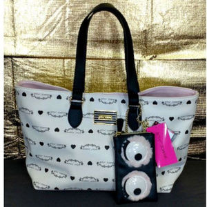 Betsey Johnson White Black Logo Tote Bag Sunglass